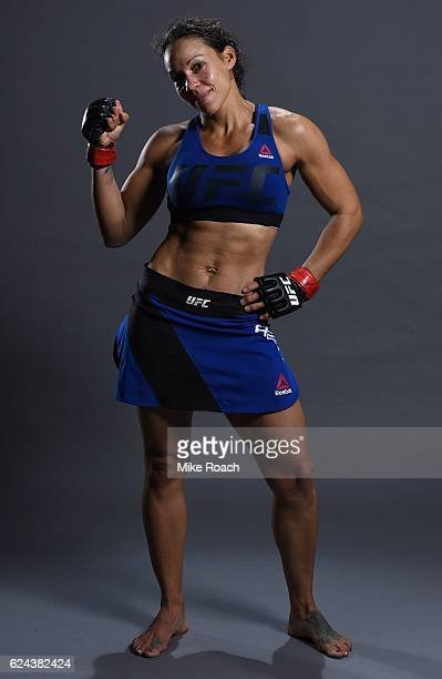 Marion Reneau poses for a portrait backstage after her victory over Milana Dudieva during the UFC Fight Night at the SSE Arena on November 19 2016 in...