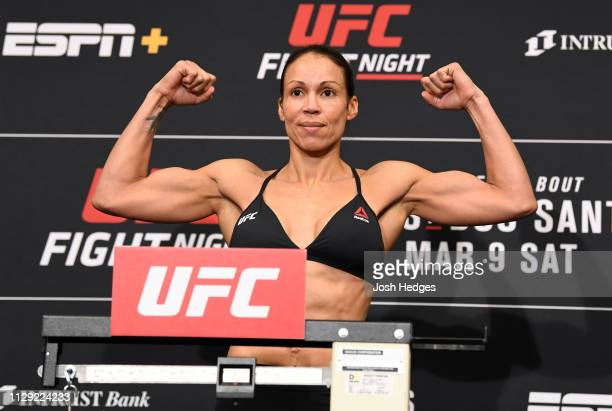 Marion Reneau poses on the scale during the UFC Fight Night weighin at the Hyatt Regency Wichita on March 8 2019 in Wichita Kansas