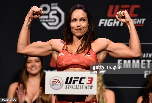 Marion Reneau poses on the scale during the UFC Fight Night Weighin at Amway Center on February 23 2018 in Orlando Florida