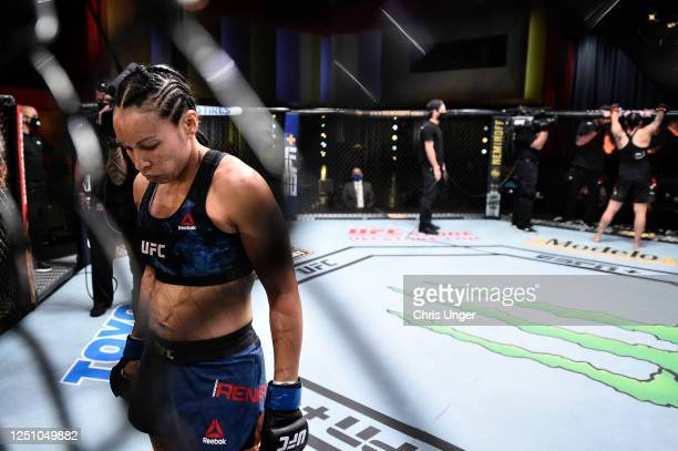 Marion Reneau prepares to fight Raquel Pennington in their bantamweight bout during the UFC Fight Night event at UFC APEX on June 20 2020 in Las...