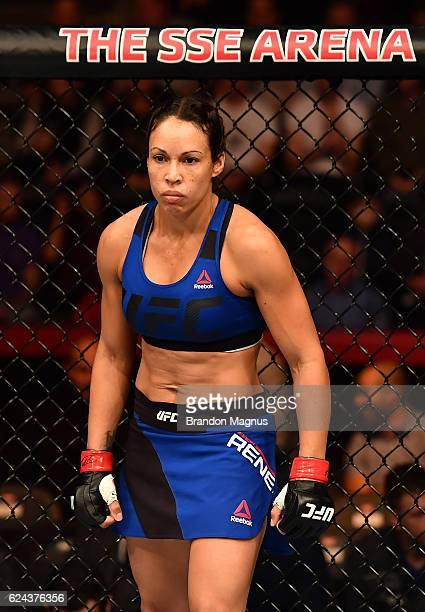 Marion Reneau stands in the Octagon before her women's bantamweight bout against Milana Dudieva during the UFC Fight Night at the SSE Arena on...