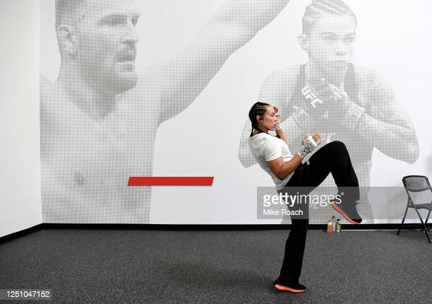 Marion Reneau warms up prior to her fight during the UFC Fight Night event at UFC APEX on June 20 2020 in Las Vegas Nevada