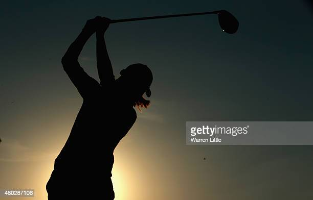 Marion Ricordeau of France tees off ont he 10th hole during the second round of the Omega Dubai Ladies Masters on the Majlis Course at the Emirates...