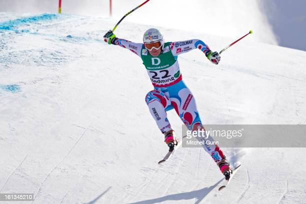 Marion Rolland of France races down the course while competing in the Alpine FIS Ski World Championships downhill on February 10 2013 in Schladming...