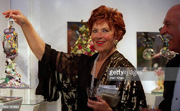 Marion Ross left and her husband Paul Michael admiring an exhibit at Pageant of the Masters held in Laguna Beach on Friday evening