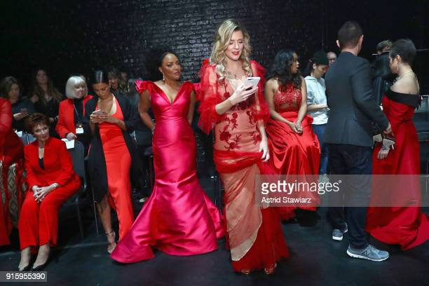 Marion Ross Liz Hernandez Lynn Whitfield Grace Helbig Tatyana Ali and Lea Salonga prepare backstage at the American Heart Association's Go Red For...