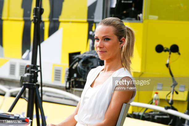 Marion Rousse journalist France TV during the Stage 21 of Tour de France from Rambouillet to Paris Champs Elysees on July 28 2019 in Paris France