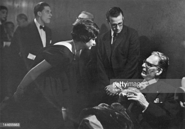 Marion Stein, Countess of Harewood, and George Lascelles, 7th Earl of Harewood, with German conductor Otto Klemperer at the Royal Albert Hall,...