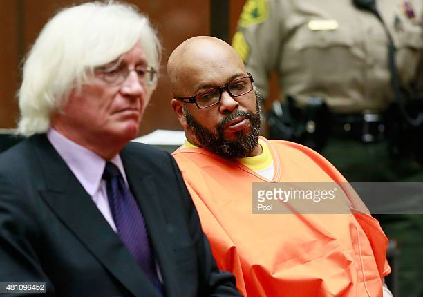 """Marion """"Suge"""" Knight and his lawyer Thomas Meserau attend a bail review hearing at Criminal Courts Building on July 17, 2015 in Los Angeles,..."""