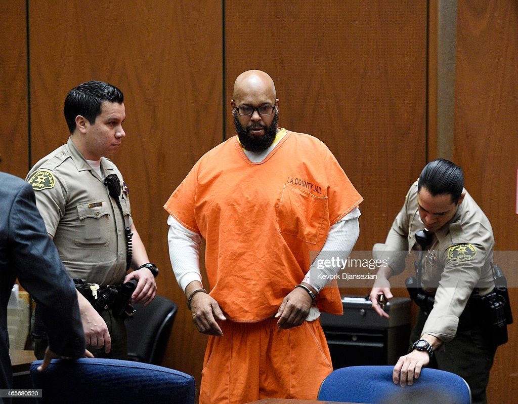 Marion 'Suge' Knight appears at Clara Shortridge Foltz Criminal Justice Center March 9, 2015 in Los Angeles, California. The hearing was scheduled to determine if the two criminal cases against Knight, one for murder and attempted murder when Knight allegedly ran over two men in a Compton parking lot after an argument and another case involving an alleged robbery and criminal threats to a photographer in Beverly Hills, should be moved to the downtown Los Angeles courthouse.