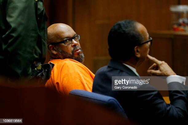 Marion 'Suge' Knight left shown with his attorney Albert DeBlanc appears in court pleading no contest to voluntary manslaughter in front of Judge...