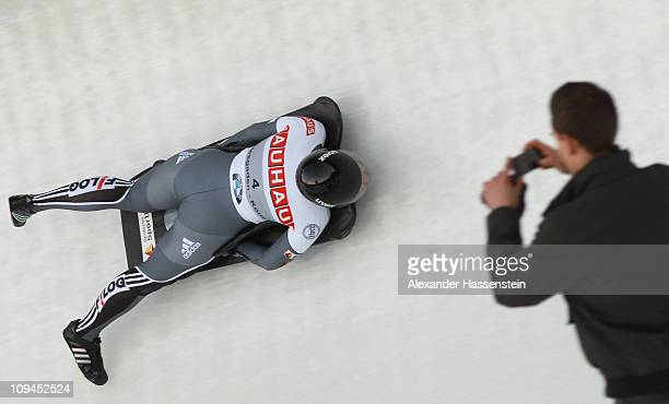 Marion Thees of Germany competes at third run of the women's Skeleton World Championship on February 26, 2011 in Koenigssee, Germany.