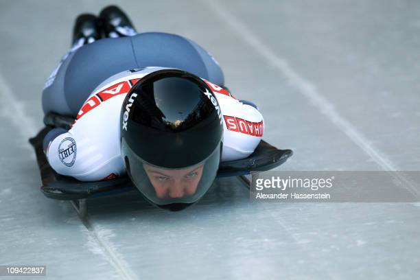 Marion Thees of Germany competes in the first run of the women's Skeleton World Championship on February 25, 2011 in Koenigssee, Germany.