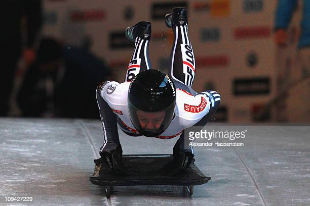 Marion Thees of Germany starts at the second run of the women's Skeleton World Championship on February 25, 2011 in Koenigssee, Germany.