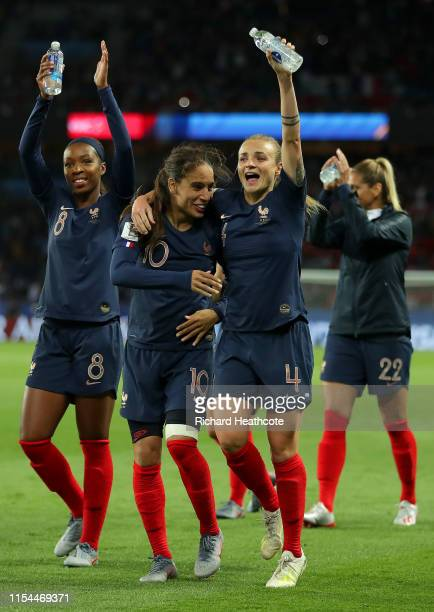Marion Torrent and Amel Majri of France celebrate following the 2019 FIFA Women's World Cup France group A match between France and Korea Republic at...