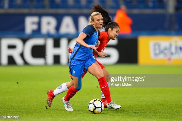Marion Torrent of France during the women's international friendly match between France and Chile at Stade Michel D'Ornano on September 15 2017 in...