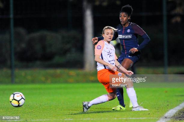 Marion Torrent of Montpellier and Ashley Lawrence of PSG during the French Women's Division 1 match between Paris Saint Germain and Montpellier on...