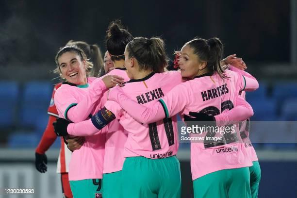 Mariona Caldentey of FC Barcelona Women Celebrates 0-1 with Marta Torrejon of FC Barcelona Women, Lieke Martens of FC Barcelona Women, Alexia...