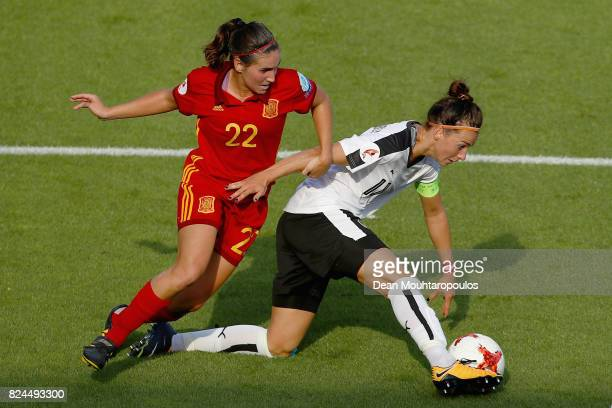 Mariona Caldentey of Spain and Viktoria Schnaderbeck of of Austria battle for possession during the UEFA Women's Euro 2017 Quarter Final match...