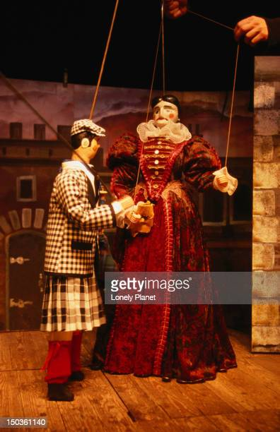 Marionettes during a play for children at Theatre Royal de Toone.