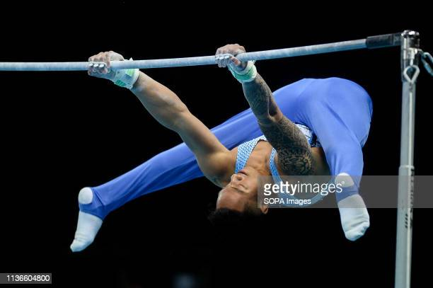 Marios Georgiou from Cyprus seen in action on high bar during the Men's AllAround Final of 8th European Championships in Artistic Gymnastics
