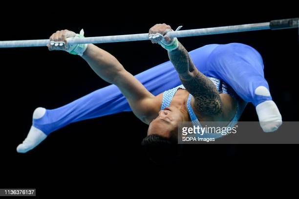 Marios Georgiou from Cyprus seen in action on the high bar during the men qualifications of 8th European Championships in Artistic Gymnastics