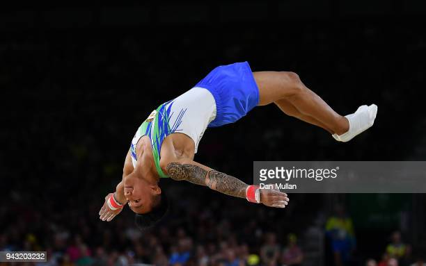 Marios Georgiou of Cyprus competes during Gymnastics Men's Floor Final on day four of the Gold Coast 2018 Commonwealth Games at Coomera Indoor Sports...