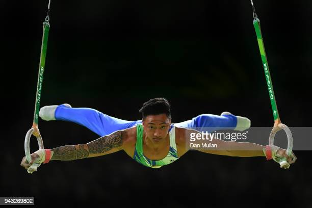 Marios Georgiou of Cyprus competes during the Gymnastics Men's Rings Final on day four of the Gold Coast 2018 Commonwealth Games at Coomera Indoor...