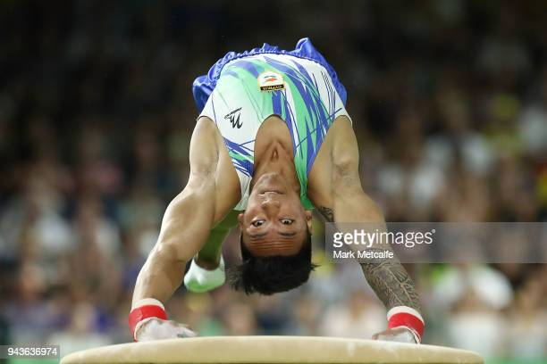 Marios Georgiou of Cyprus competes in the MenÕs Vault Final during Gymnastics on day five of the Gold Coast 2018 Commonwealth Games at Coomera Indoor...
