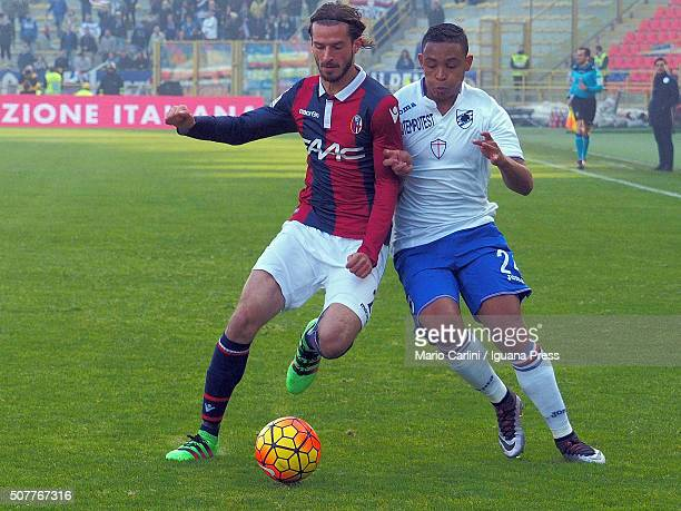 Marios Oikonomou of Bologna FC competes the ball with Luis Muriel of UC Sampdoria during the Serie A match between Bologna FC and UC Sampdoria at...