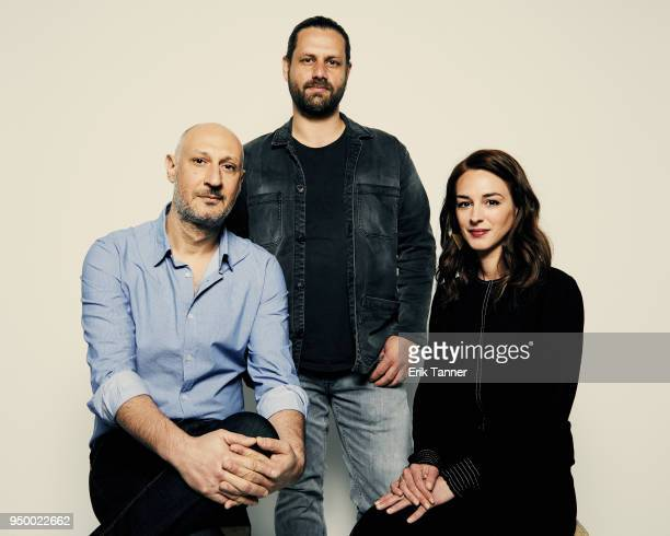 Marios Piperides Adam Bousdoukos and Vicky Papadopoulou of the film Smuggling Hendrix pose for a portrait during the 2018 Tribeca Film Festival at...
