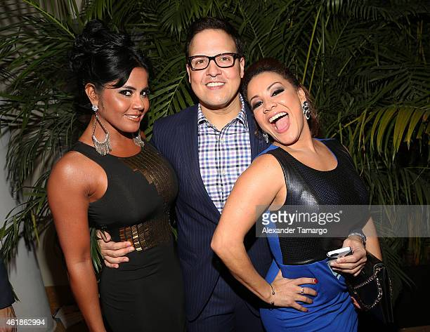 Maripily Raul Gonzalez and Carolina Sandoval arrive at Telemundo International Welcome Party during NATPE 2015 at Adrienne Arsht Center on January 20...
