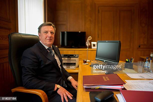 Maris Kucinskis Latvia's prime minister sits for a photograph following an interview at his office in Riga Latvia on Tuesday March 29 2016 Baltic...