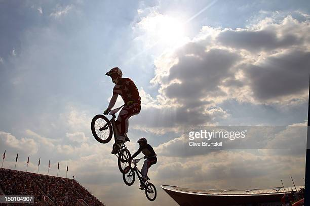 Maris Strombergs of Latvia competes in the Men's BMX Cycling Final on Day 14 of the London 2012 Olympic Games at the BMX Track on August 10, 2012 in...