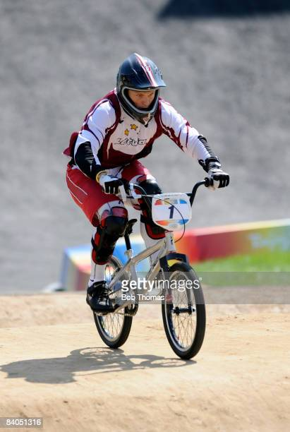 Maris Strombergs of Latvia competes in the Men's BMX semifinals held at the Laoshan Bicycle Moto Cross Venue during Day 14 of the Beijing 2008...