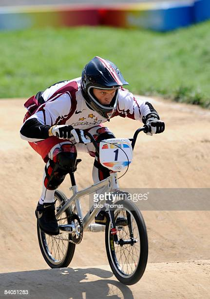Maris Strombergs of Latvia on his way to winning the gold medal in the Men's BMX final held at the Laoshan Bicycle Moto Cross Venue during Day 14 of...