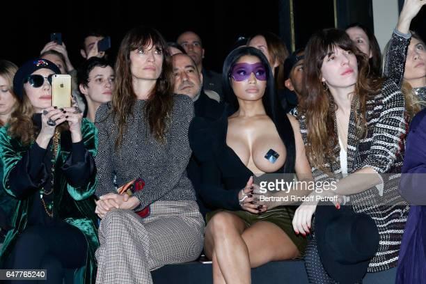 Marisa Berenson Caroline de Maigret Nicki Minaj and Lou Doillon attend the Haider Ackermann show as part of the Paris Fashion Week Womenswear...