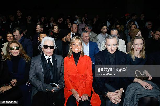 Marisa Berenson, Fashion designer Karl Lagerfeld, Helene Arnault, Owner of LVMH Luxury Group Bernard Arnault and Louis Vuitton's executive vice...