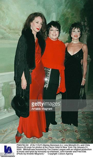 Marisa Berenson Liza Minnelli and Chita Rivera pose for photos at the Pierre Hotel in New York City January 31 2000 Minnelli was honored by The Drama...