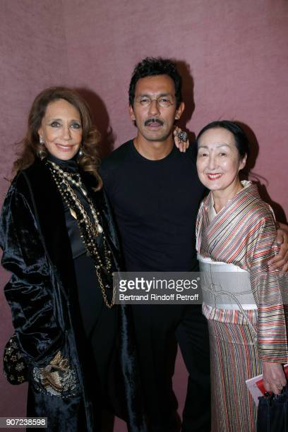Marisa Berenson Stylist of Berluti men Haider Ackermann and Setsuko Klossowska de Rola pose after the Berluti Menswear Fall/Winter 20182019 show as...