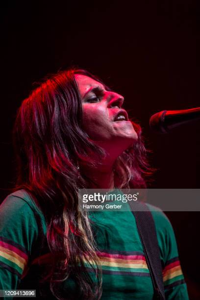 Marisa Debice of the band Mannequin Pussy Performs At The Novo at The Novo by Microsoft on February 28, 2020 in Los Angeles, California.