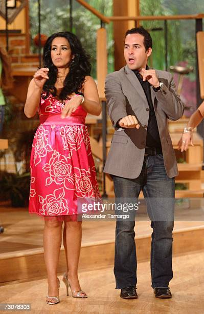 Marisa del Portillo and Carlos Calderon appear on the new set of Escandalo TV for their 5th Anniversay episode on January 22 2007 in Miami Florida