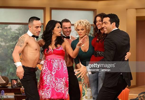 Marisa del Portillo Charytin Goyco Sofia Vergara Felipe Viel appear on the new set of Escandalo TV for their 5th Anniversay episode on January 22...
