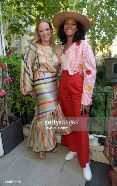 Marisa Hordern and Cheyenne MayaCarty attend the Missoma Summer Party at the Residence of the Embassy of Colombia on July 03 2019 in London England