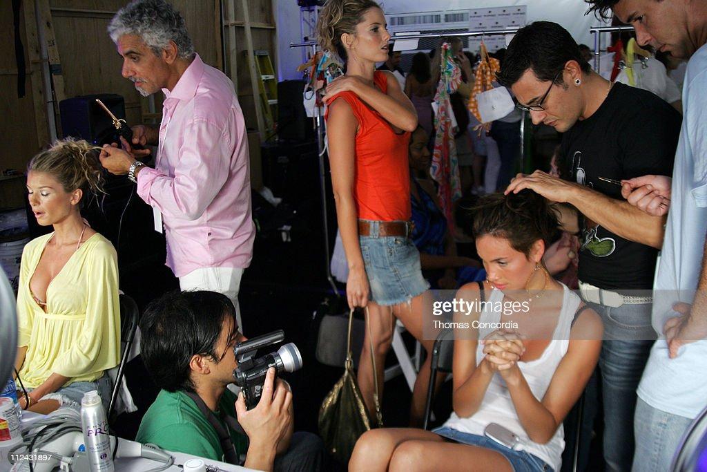 Marisa Miller (left) and Ric Pipino backstage at Sais by Rosa Cha