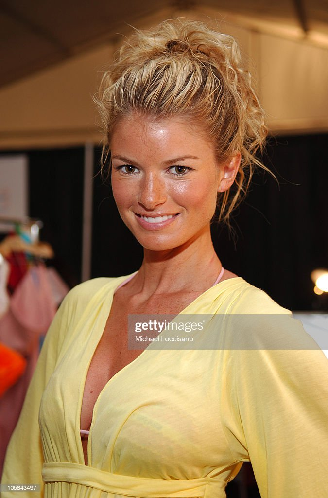 Marisa Miller backstage at Sais by Rosa Cha during Sunglass Hut Swim Shows Miami Presented by LYCRA - Sais by Rosa Cha - Backstage at The Raleigh Hotel in Miami, Florida, United States.