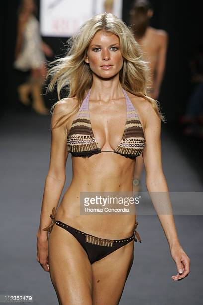 Marisa Miller models during the Fashion For Relief charity runway event in Bryant Park New York City on September 16 2005 The celebrity fashion show...