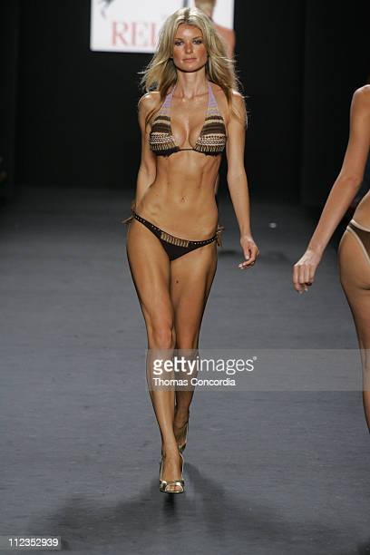 Marisa Miller models during the 'Fashion For Relief' charity runway event in Bryant Park New York City on September 16 2005 The celebrity fashion...