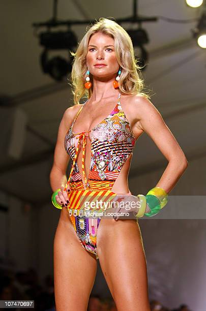 Marisa Miller wearing swimwear made with LYCRA during Sunglass Hut Swim Shows Miami Presented by LYCRA LYCRA Runway at Raleigh Hotel in Miami Beach...
