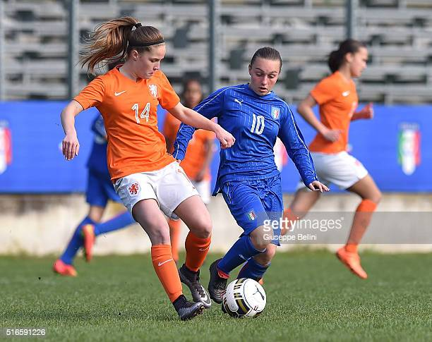 Marisa Olislagers of Netherlands and Giada Greggi of Italy in action during the UEFA European Women's Under17 Championship Elite Round match between...